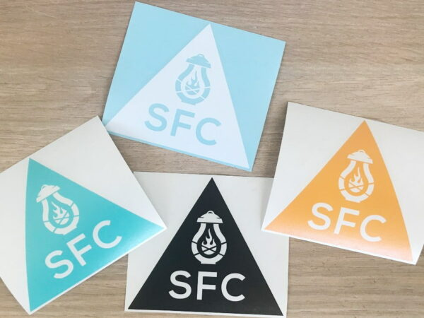 SFC Triangle Logo Sticker in Teal White Gold and Black