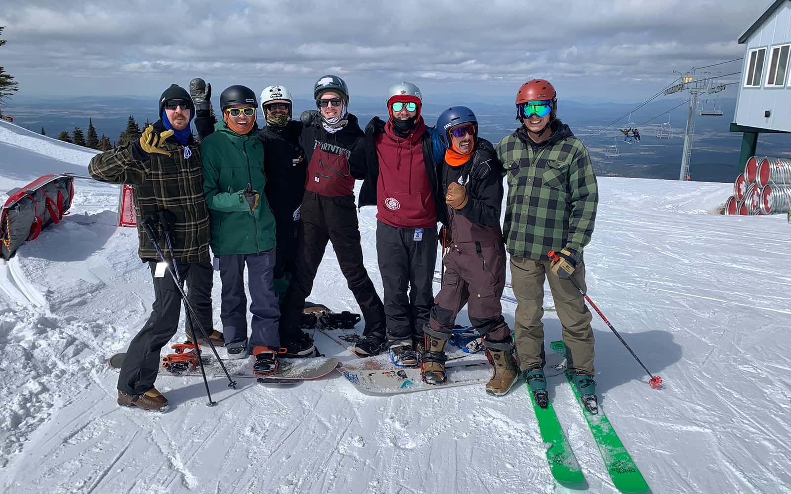 Mike Bailey with his Snowboarder and Skiers for Christ friends.