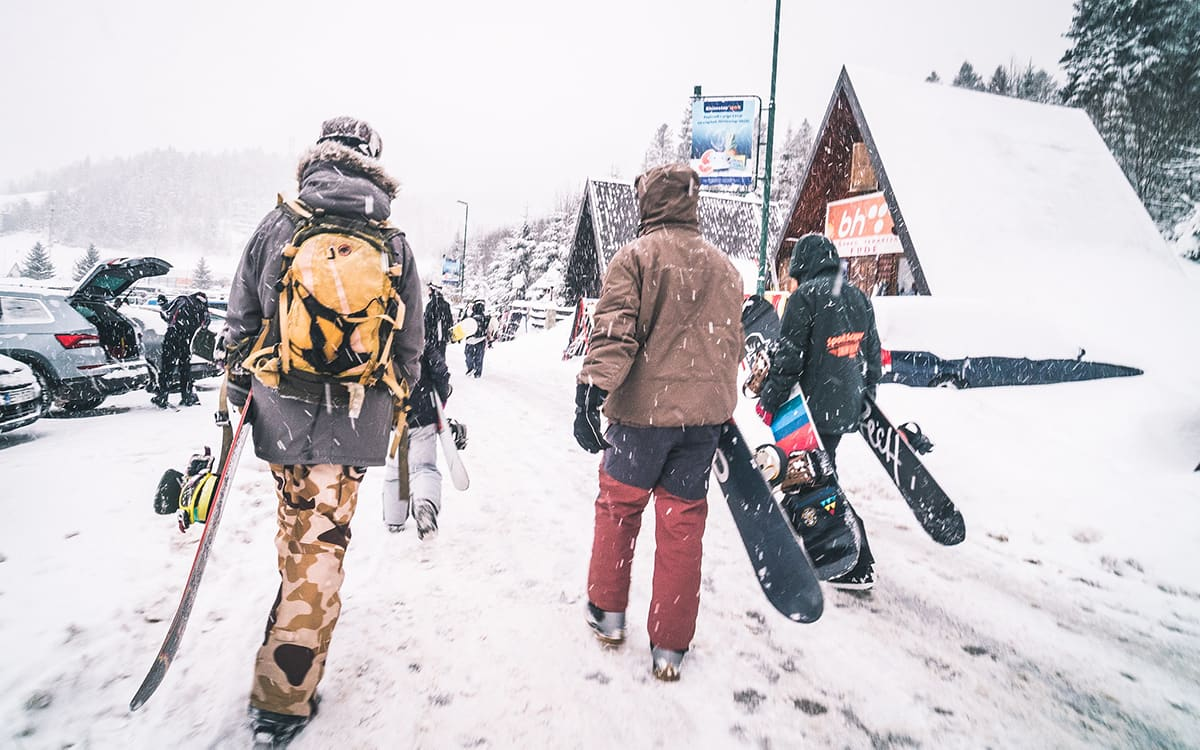 SFC friends walking to the ski area in Bosnia